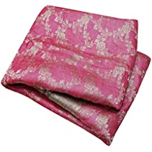 PEEGLI Vendimia Sari Indio Seda Mezcla Coser Artesanía Tela Étnico Desgaste Mujeres Rosa Tejido Sari