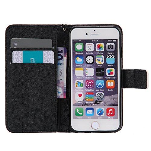 PU Cuir Coque Strass Case Etui Coque étui de portefeuille protection Coque Case Cas Cuir Swag Pour Apple iPhone 6/ iPhone 6S (4.7 pouces)+Bouchons de poussière (O4) 14
