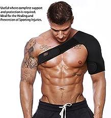 Veena Adjustable Breathable Gym Sports Care Single Shoulder Support Back Brace Guard Strap Wrap Belt Band Pads Black Bandage Menwomen Left Shoulder