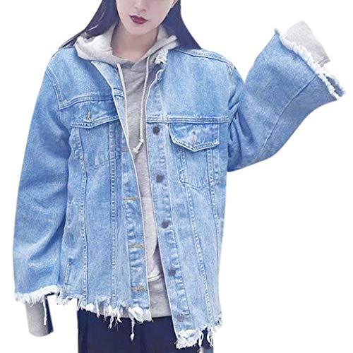 i-uend 2019 Damen Denim Mantel - Basic Mäntel Herbst und Winter Damen Jeansjacke Vintage Langhülse Lose Mädchen Jeans Mantel Beiläufige Outwear