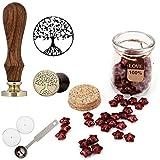 Mogoko Sternförmig Siegellack Perlen Europäische Retro Siegelwachs Perlen Lebensbaum Stempel Set mit 1 Stück Wachs Schmelzen Löffel und 2 Stück Kerzen für Umschlag Briefkopf Geschenk
