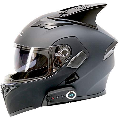Preisvergleich Produktbild WLJBY Motorrad Bluetooth Smart Helm / Anti-Fog / DOT-Zertifizierung Integriertes Headset Klappbarer Helm für offenes Gesicht / Motorrad Offroad / Road / Modular Double Lens Helm, XL