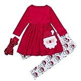 Riou Weihnachten Baby Kleidung Set Pullover Outfits Winteranzug Kinder Baby Mädchen Deer Gestreifte Prinzessin Kleid Weihnachten Outfits Kleidung (120, Rot C)