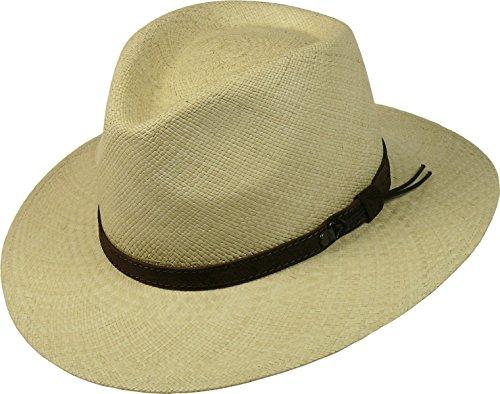 Elfenbein Flaches Blatt (Panamahut in 5 Farben flache Form!, Farben:natur, Kopfgröße:XL)