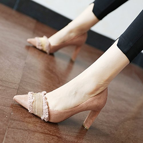 FLYRCX primavera e autunno semplice moda personalita 'donna sola scarpa sharp scamosciato scarpe con tacchi alti Pink