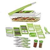 HKC HOUSE 20 In 1 Fruit & Vegetable Chopper, Slicer, Chipser, Dicer, Cutter, Grater (6 Forks Spoons & 2 Spice Jar)