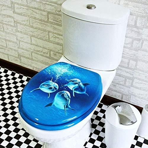 DNSJB WC-Sitz Delfin, mit MDF-Dämpfer und Dicker Oberseite montiert, sehr widerstandsfähig, für U/O/V-Form WC