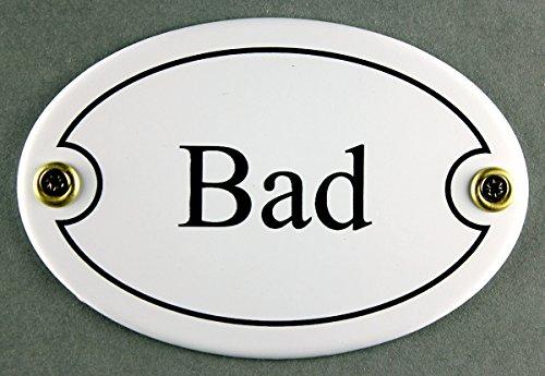 Emaille Türschild Bad weiß oval 7x10 cm Schild Emailleschild Metallschild Blechschild