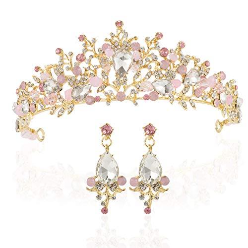 LONGBLE Hochzeit Tiara Brautschmuck Krone Strass Kristall Haarband Braut Prinzessin Krone mit Ohrringen pink Haarschmuck Haarreif für Hochzeit Festzüge Abschlussbälle