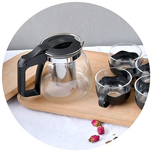 XIMI VOGUE Simple Fashion Heat-Resistant Glass Teapot Set 900/150 ML (Black)