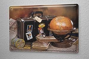 Plaque Émaillée Décoration Murale Aventurier Monde monde Voyage valise Publicité Signes En Métal 20X30 cm