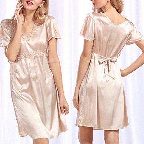 Zhhlaixing Lady Girls Satin Sleepwear Lace Trim Slip Chemise Babydoll Nightdress Camel
