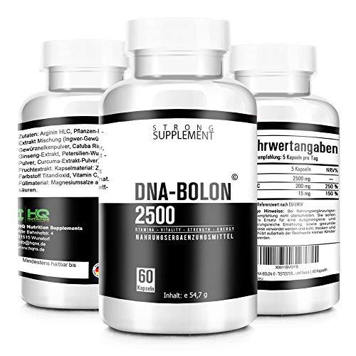 DNA-BOLON © - Hardcore Pre Workout Booster - L- Arginin extrem hochdosiert - Muskelaufbau - beliebt im Bodybuilding - 60 hochdosierte Kapseln, Hergestellt in Deutschland