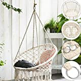Cotton Woven Hammock/Hanging Chair, Swing Rope Outdoor Indoor Home Garden Seat Hang Chair, For Kids...