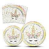 AMZTM Platos Servilletas de Unicornio Mágico - Artículos para La Fiesta Decoraciones de Fiesta para Niños Chicas Fiesta de Cumpleaños Baby Shower Boda 48 Piezas (Rainbow)
