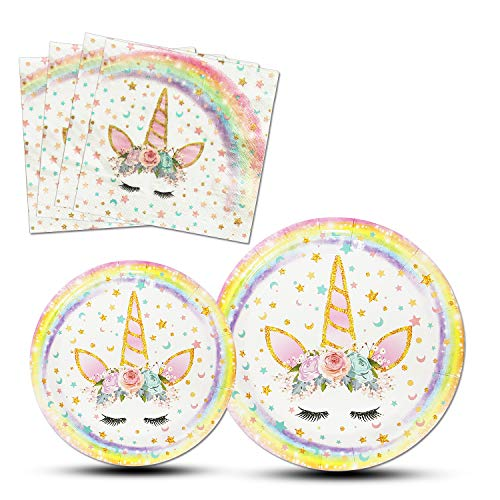 AMZTM Magisch Einhorn Party Zubehör - 48 Stück Einhorn Teller Servietten Partygeschirr zum Kinder Mädchen Geburtstag Baby Shower (Rainbow) (Unicorn Papier-servietten)