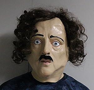 The Rubber Plantation TM 619219291538 Edgar Allan Poe - Máscara de látex con cabeza completa para disfraz de Halloween, adulto unisex, talla única