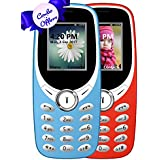 I KALL K31 Dual Sim 1.8 Inch Display COMBO OF TWO Basic Feature Mobile Phone With Bluetooth, GPRS, FM Radios, Flash Light And 1000 Mah Battery Capacity- Red & Sky Blue