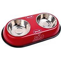 Chytaii Plato de Perro Comedero Doble Recipiente Acero Inoxidable para Perros y Gatos Paquete de 1 Rojo