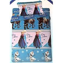Completo sábanas Cama Individual Algodón Niña Frozen Disney Elsa y Anna