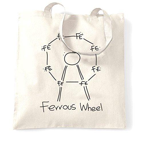 Ferroso Ferris Wheel Pun Collegio Tavola periodica Scienza Geek Nerd Sacchetto Di Tote White