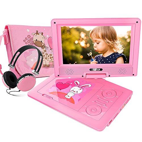 FUNAVO 9.5'' Tragbarer DVD-Player, Schwenkbaren Bildschirm, 4 Stunden Akku, Unterstützt SD-Karte und USB, mit Kopfhörer, Tragetasche, Auto-Ladegerät (Rosa) (Rosa Auto-ladegerät)