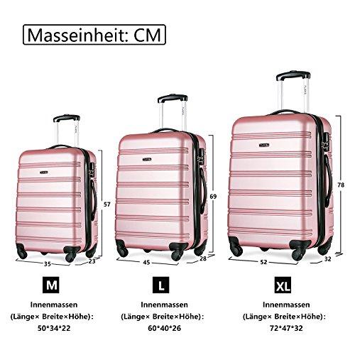 Flieks Hartschalen Handgepäck Reisekoffer Trolley Koffer mit 4 Rollen und Zahlenschloss, XL-L-M(L, Pink) - 3