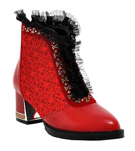 YE Damen Spitze Ankle Boots mit Bequem Blockabsatz Glitzer Strass Rei脽verschluss Hinten 5cm Absatz Lace Elegant Moderne Stilefeletten Rot