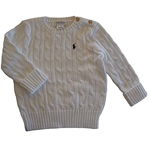 Ralph lauren baby boys cable white cotton sweater jumper 18 mths gift
