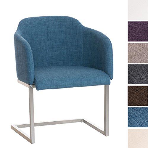 CLP Edelstahl Freischwinger-Stuhl Magnus mit Stoffbezug, Besucherstuhl mit Armlehne, Konferenzstuhl gepolstert Blau