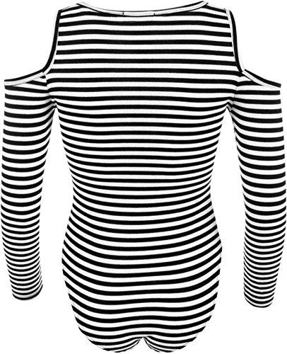 Damen Gerippte Ausschnitte Schulter Gestreiftes Langarm Body Leotard Top Schwarz / Weiß