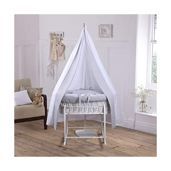 6-Piece Grey Waffle White Wicker Moses Basket Starter Set Clair de Lune Made from 100% super soft Waffle cotton fabric Lightweight cotton drape edged with soft Waffle cotton to match the dressing, with freestanding rod to place next to the Moses basket Comes complete with matching deluxe rocking stand, padded liner, coverlet and mattress. 3