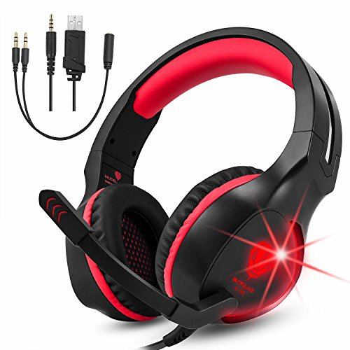 Gaming Headset für PS4 PC Xbox One Nintendo Switch, Makibes Stereo Over Ear Noise Cancelling Kopfhörer mit Mikrofon Rot
