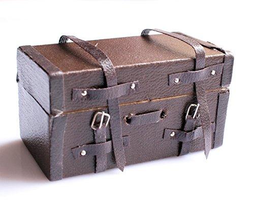 Preisvergleich Produktbild 1:12 Puppenhaus Miniatur Jahrgang braunem Leder Holz Koffer Gepäck