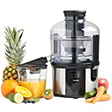 Juicers Best Deals - VonShef Professional 800W Whole Fruit Power Juicer - Free 2 Year Warranty - with Wide Feeding Tube, Juice Jug & Cleaning Brush