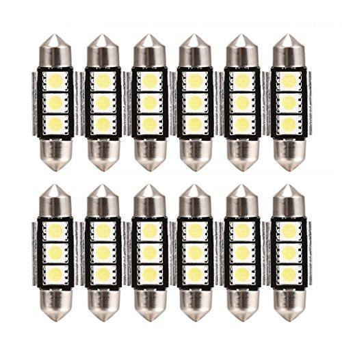 Teamyy 10X36 mm 3 5050 SMD Xenon LED Auto Nebellicht Auto KFZ Innenbeleuchtung Licht Innere Leuchtmittel Birne Leuchte Kosmetikspiegel Sonnenblende c5w Soffitte Weiß