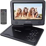 """Reproductor de DVD Portátil de 9.5"""" con Pantalla Giratoria, 5 Horas recargable incorporada de la batería, Compatible con Tarjetas SD y USB, con el cargador del coche y dispositivo de juego - Negro"""