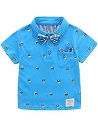 Bébé Enfant Garçon T-shirt Polo Chemise Manches Courtes d'Eté Doux Ours Cartoon Mignon avec Nœud Amovible