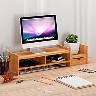 Computer Monitor Stand Riser, Annstory Bamboo Laptop TV Stand and Desk Organizer with Drawer for Home and Office