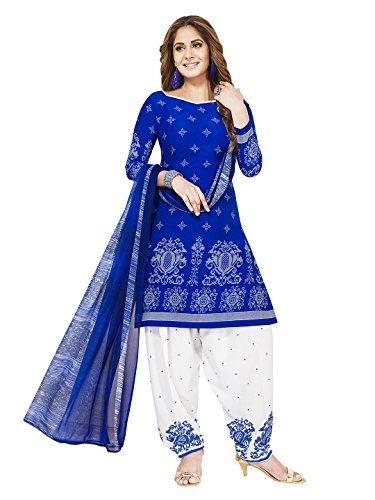 Jevi Prints Women's Unstitched Synthetic Crepe Blue & White Block Printed Salwar...