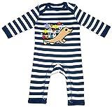 HARIZ Baby Strampler Streifen Igel Mit Blumen Tiere Kindergarten Plus Geschenkkarte Navy Blau/Washed Weiß 12-18 Monate