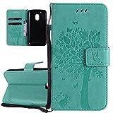 ISAKEN Motorola Moto G4 Play Hülle, PU Leder Flip Cover Brieftasche Wallet Case Handyhülle Tasche Schutzhülle Etui mit Handschlaufe Strap für Motorola Moto G4 Play - Baum Katze Grün