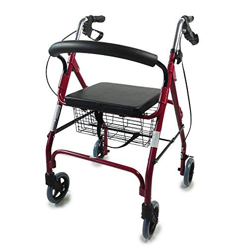 Andador para ancianos de 4 ruedas | Rollator deluxe plegable | Regulable...