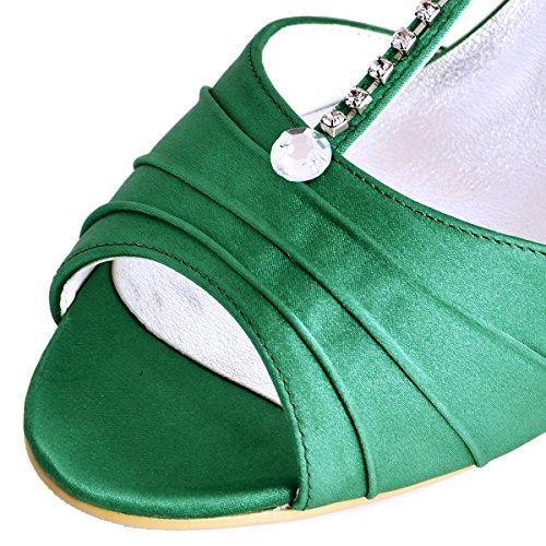 ElegantPark EL-035 Escarpins Femme Satin Bout Ouvert Bride Cheville Diamant Salome Mitalon Chaussures de mariee Bal Vert