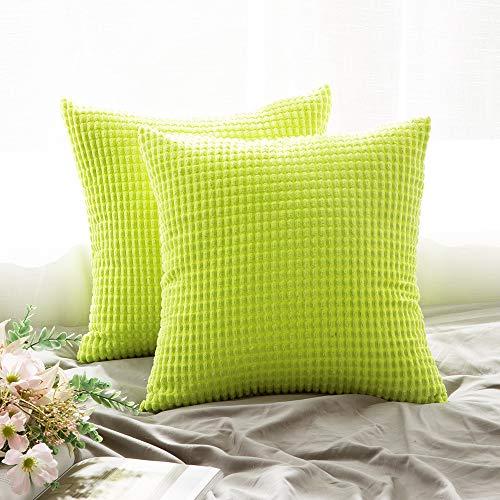 Grünes Dekokissen (MIULEE 2er Set Cord Weiches Massiv Dekorativen Quadratisch Überwurf Kissenbezüge Kissen für Sofa Schlafzimmer Auto 18