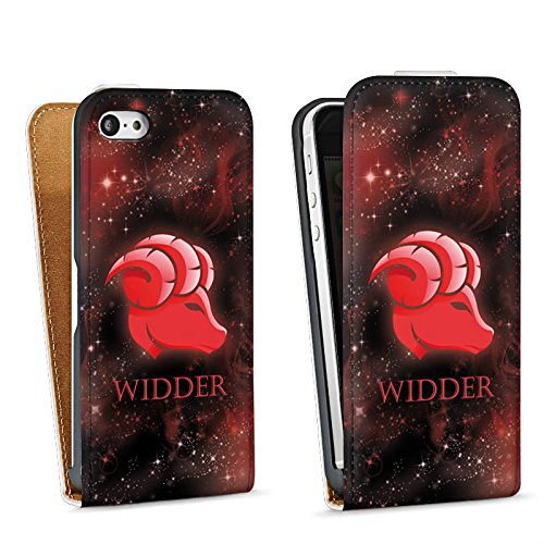 Apple iPhone 5s Housse Étui Protection Coque Signes du zodiaque Bélier Astrologie Sac Downflip blanc
