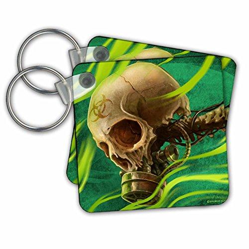 3drose Biohazard Skull mit Gas Maske dunkelgrün Hintergrund und gefährliche Gas–Schlüssel Ketten, 5,7x 5,7cm Set 2Stück (KC _ 252429_ 1) (Biohazard Gasmaske)