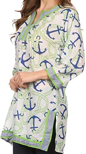 Sakkas Caddie Chemisier Top Tunique Chemise avec Motif Imprimé et garniture Vert/Bleu