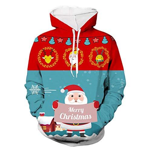 Unisex Hooded Sweatshirt Übergroß Weihnachtspullover Long Ärmel Tops Bluse ☆Elecenty☆ 3D Gedruckter Christmas Kapuzensweater Kapuzenjacke Kapuzenpullis Coat Langarmpullover -