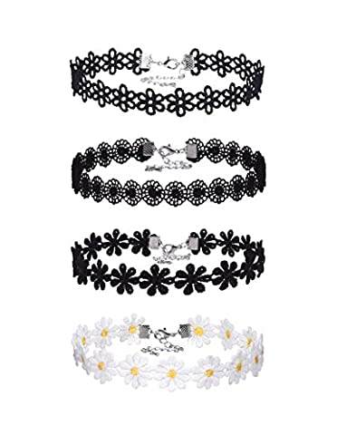 Mudder Lace Choker Necklaces Vintage Gothic Tattoo Choker for Women Girls, 4 Pieces